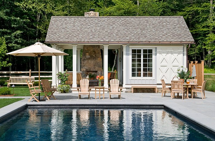 On the drawing board pool houses for Pool house plans with bathroom