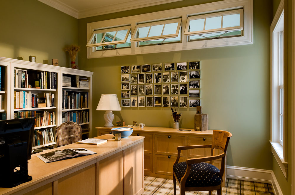 Home Office with Transom Windows