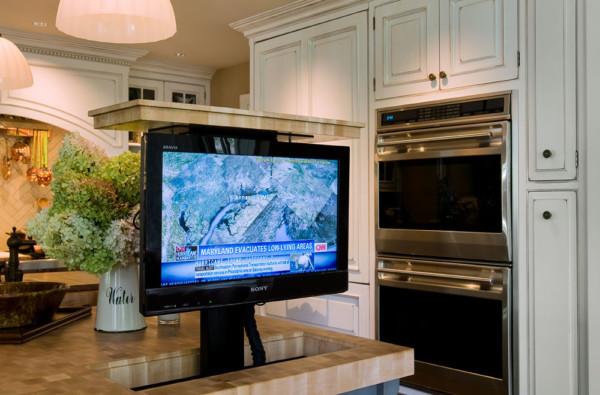 Butcher Block Island with Pop Up TV