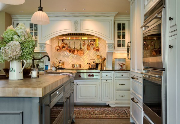 Kitchen with Herringbone Tile Backsplash