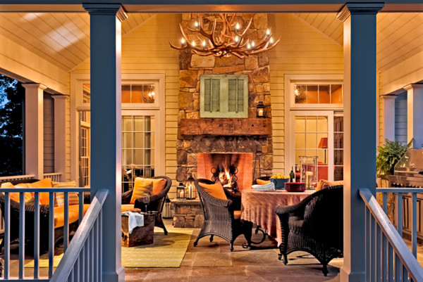Open Porch With Fireplace