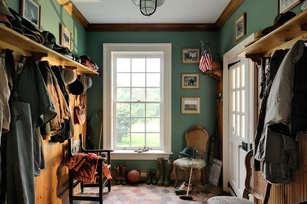 Mudroom with Wood Wainscot