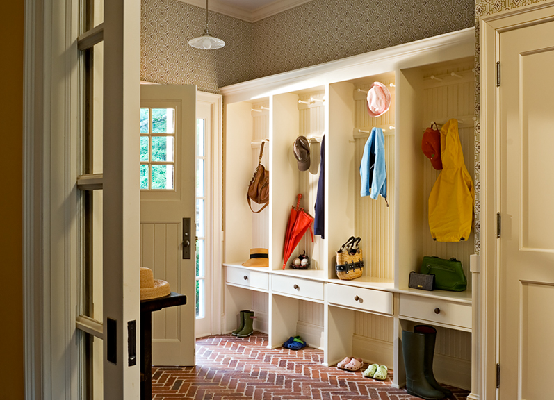 Mudroom with Brick Floor