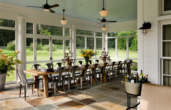 Screened Porch With Long Table