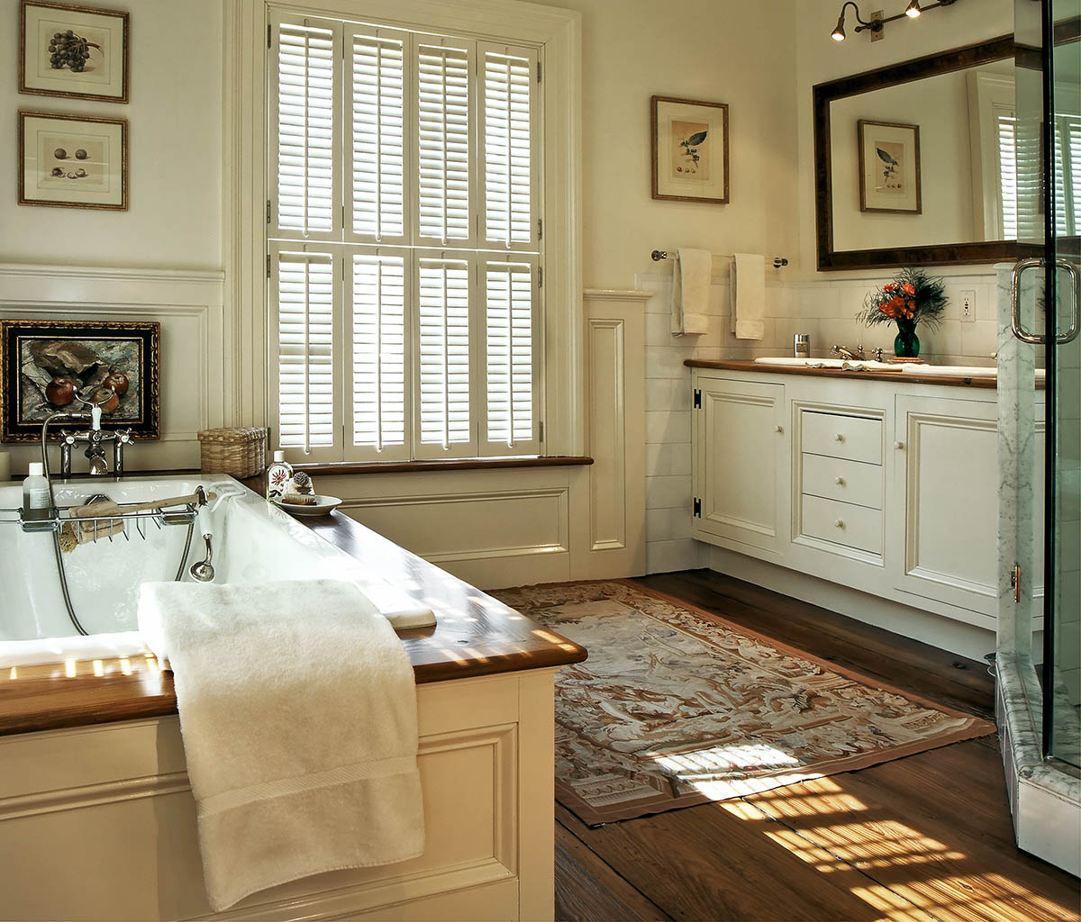 On the drawing board 9 ways to take a bath for Wood floor bathroom