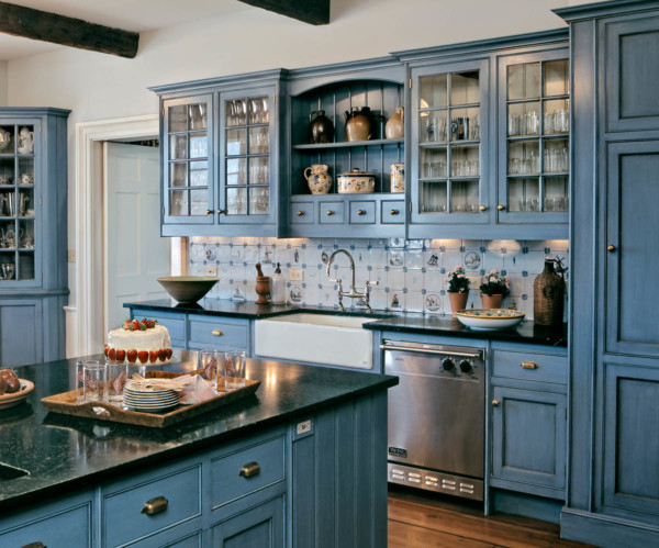 White Sink Blue Cabinets