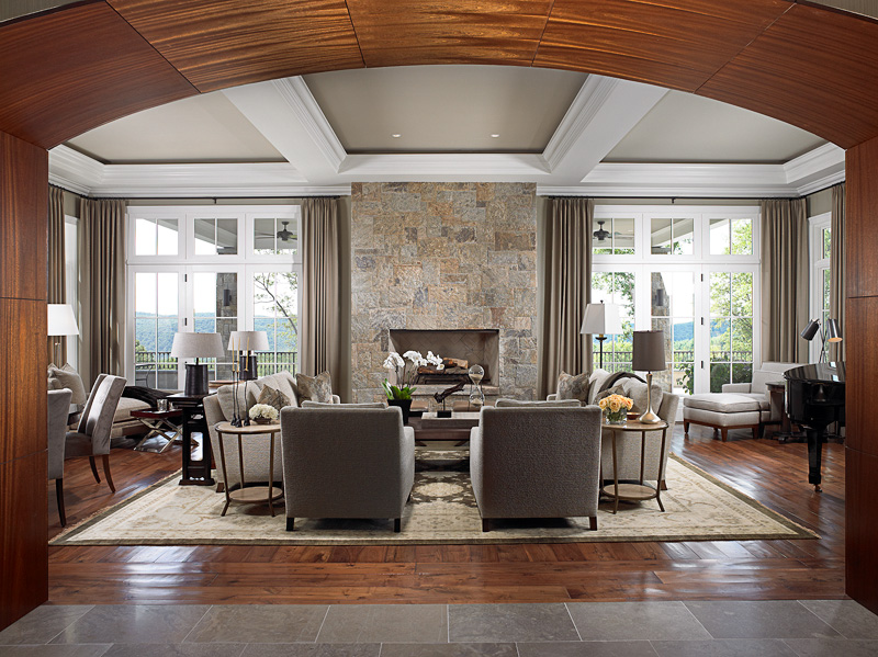 Modern Living Room With Grey Stone and Ceiling
