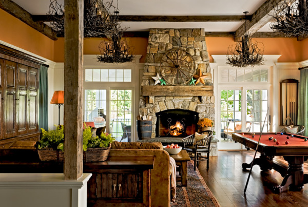 Family Room with Decorative Ceiling Beams and Mantelpiece