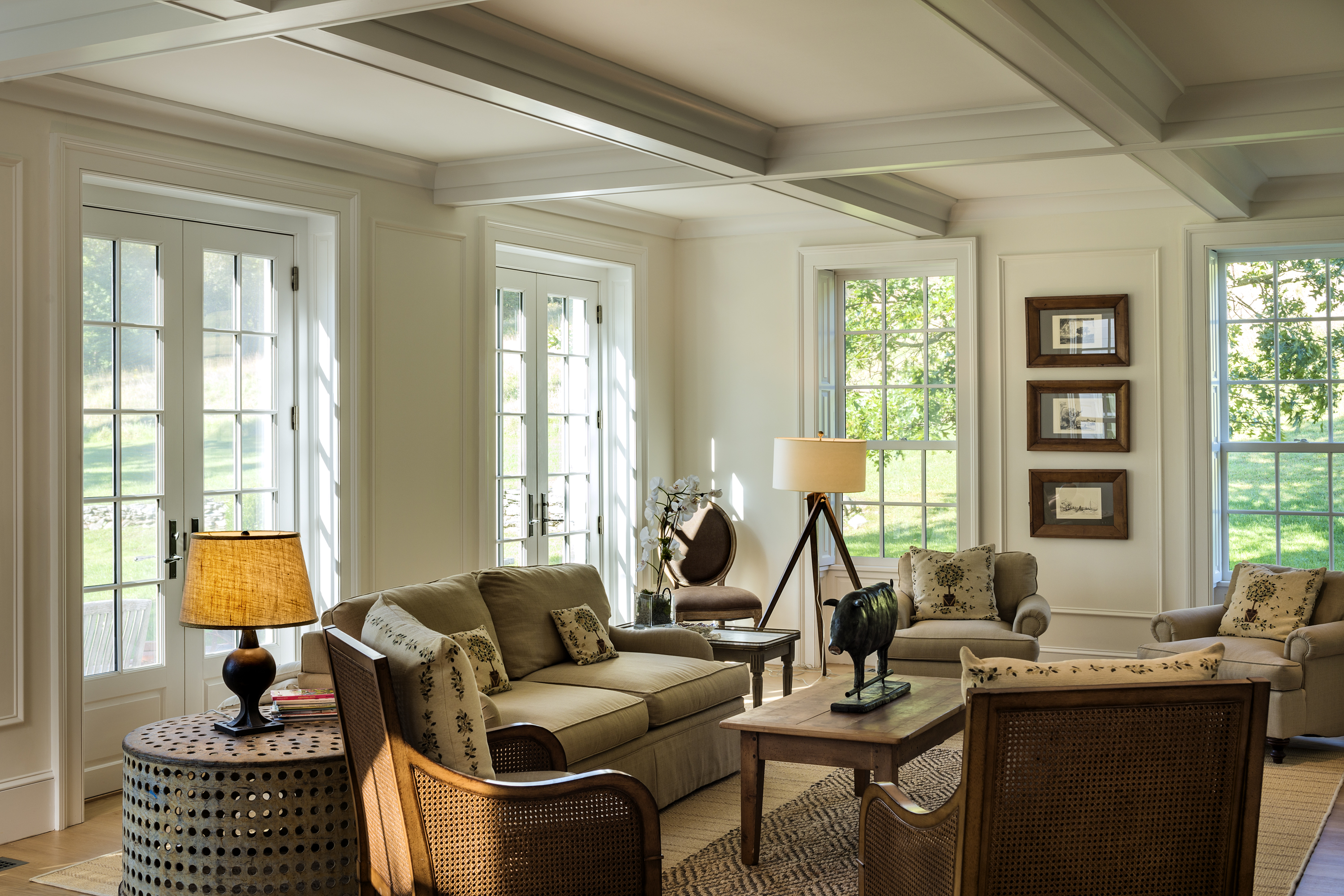 Living Room with Finished Beams