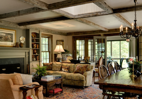 Living Room with Rustic Beams