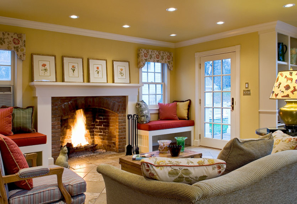 Window Seat next to Fireplace