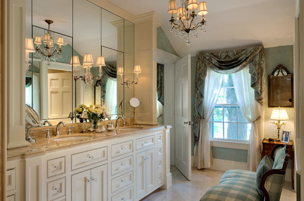 Bathroom with Full Mirror Behind Cabinets
