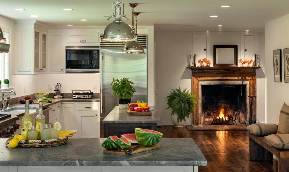 Restored Fireplace in Kitchen