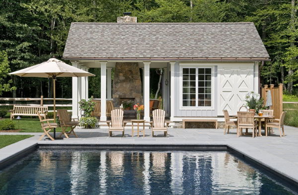 Pool House With Rolling Door