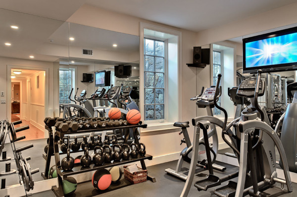 Gym with Window Well