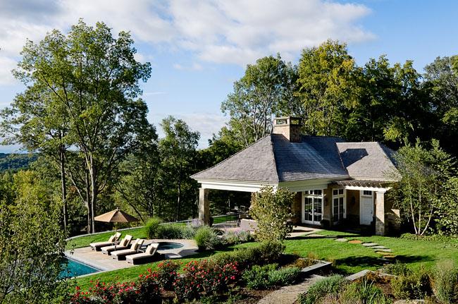 Stone and Stucco Pool House