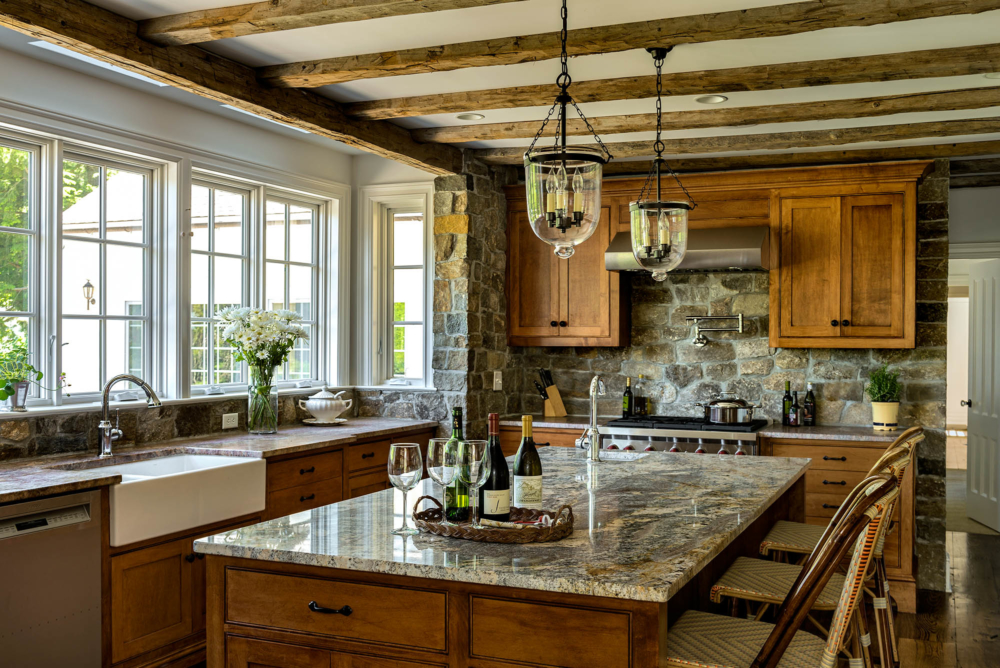 Stone and Natural Wood Kitchen
