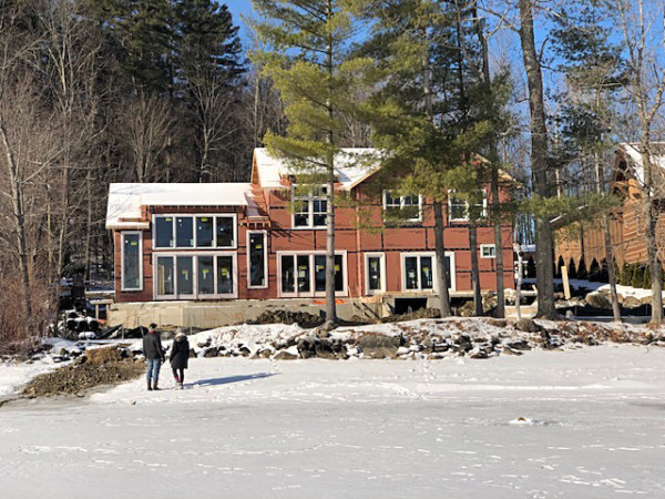 View of Lake Home from Frozen Lake (By Homeowner)