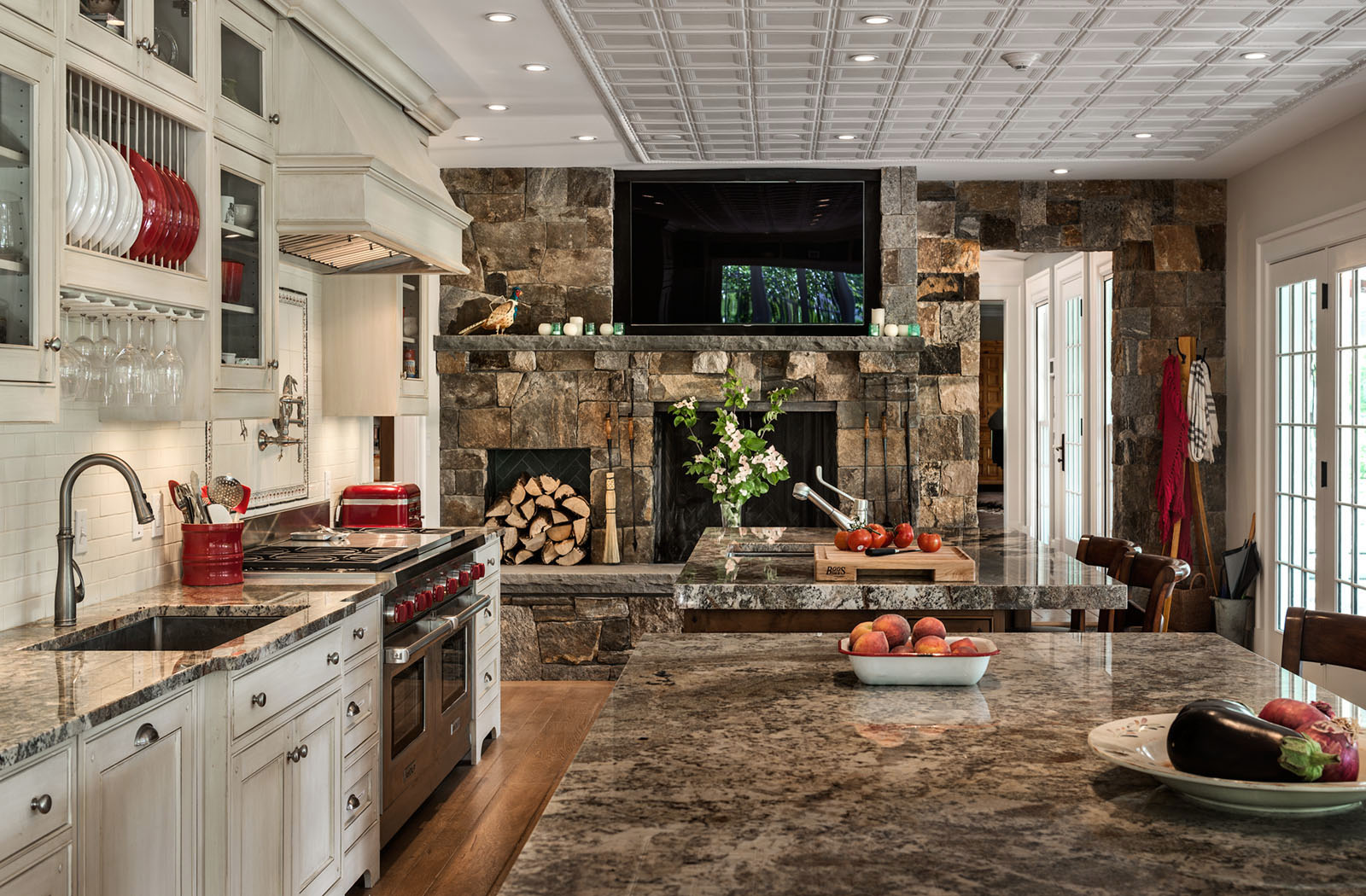 Stone Countertops and Fireplace Color