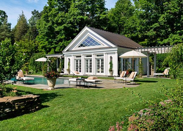 Pool With Greek Revival Poolhouse