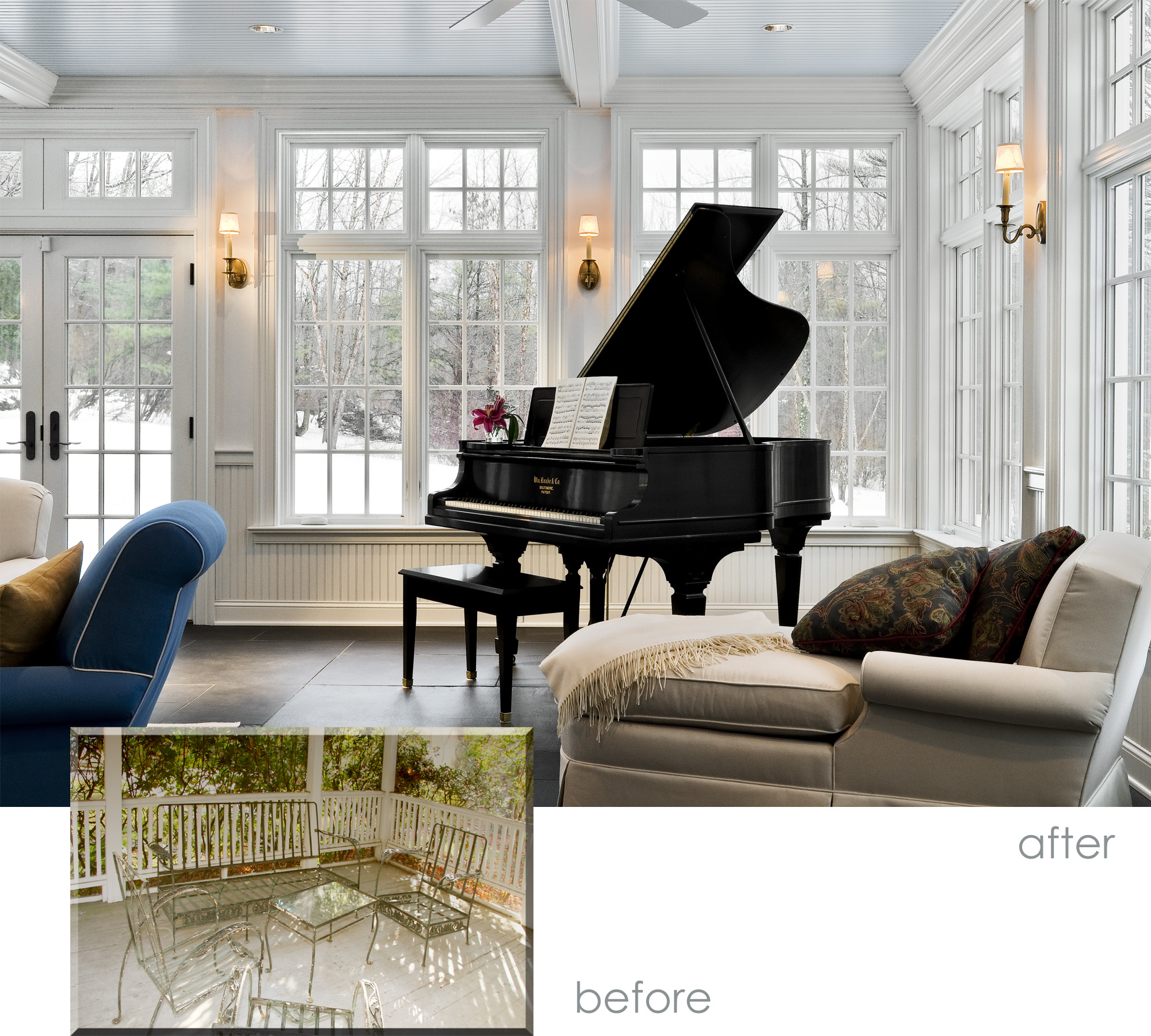 Sun Room Before and After