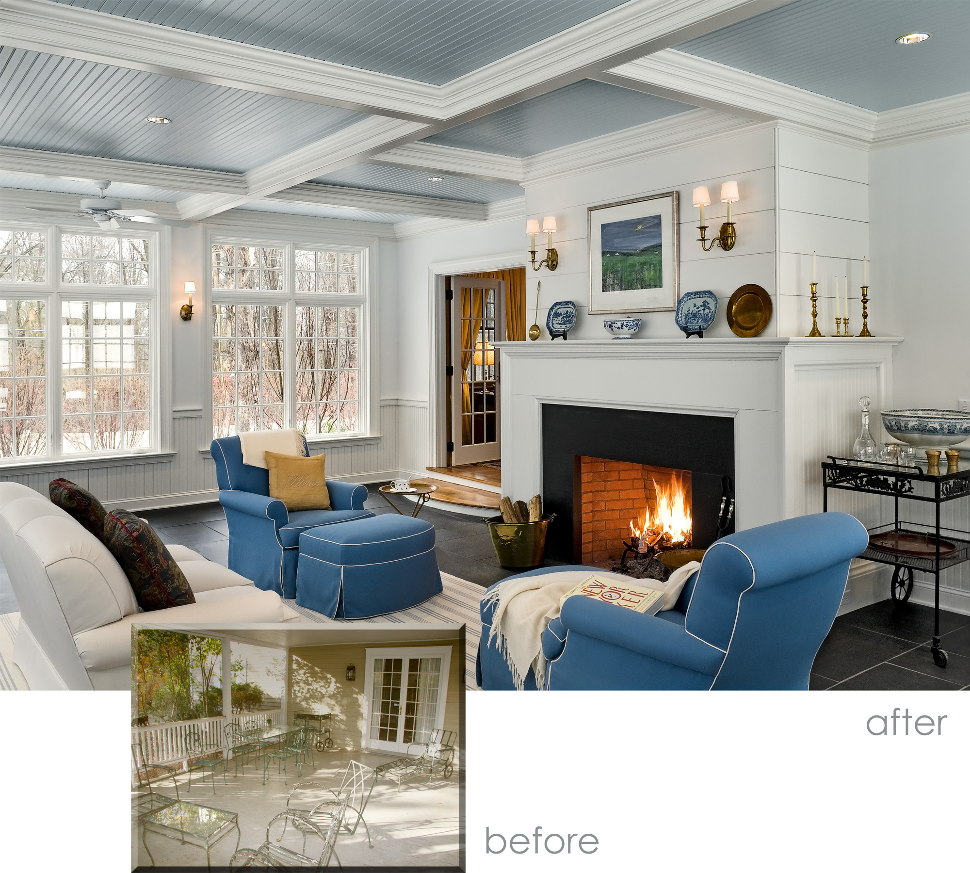 Sun Room Before and After With Fireplace