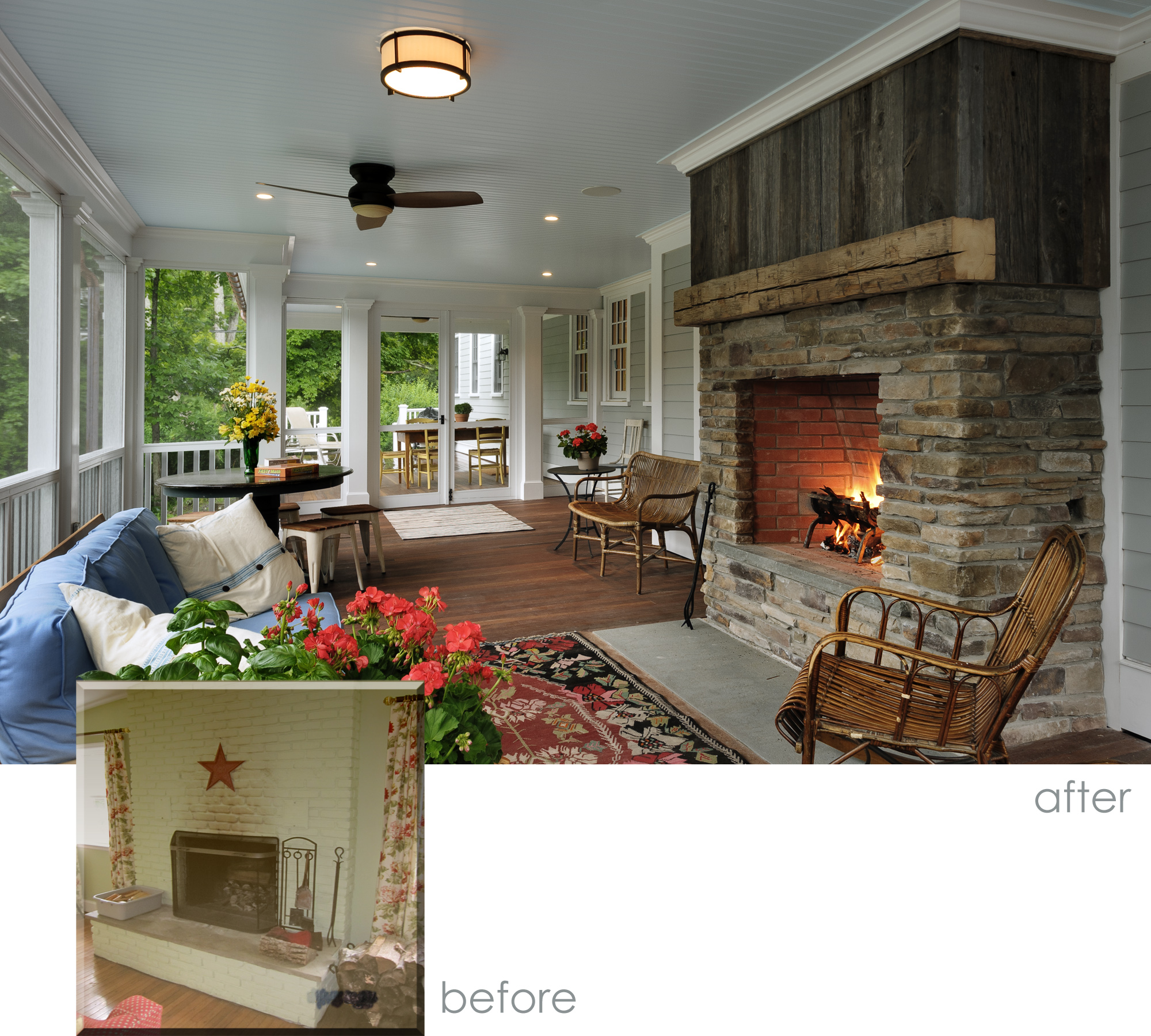 Screened Porch Before and After