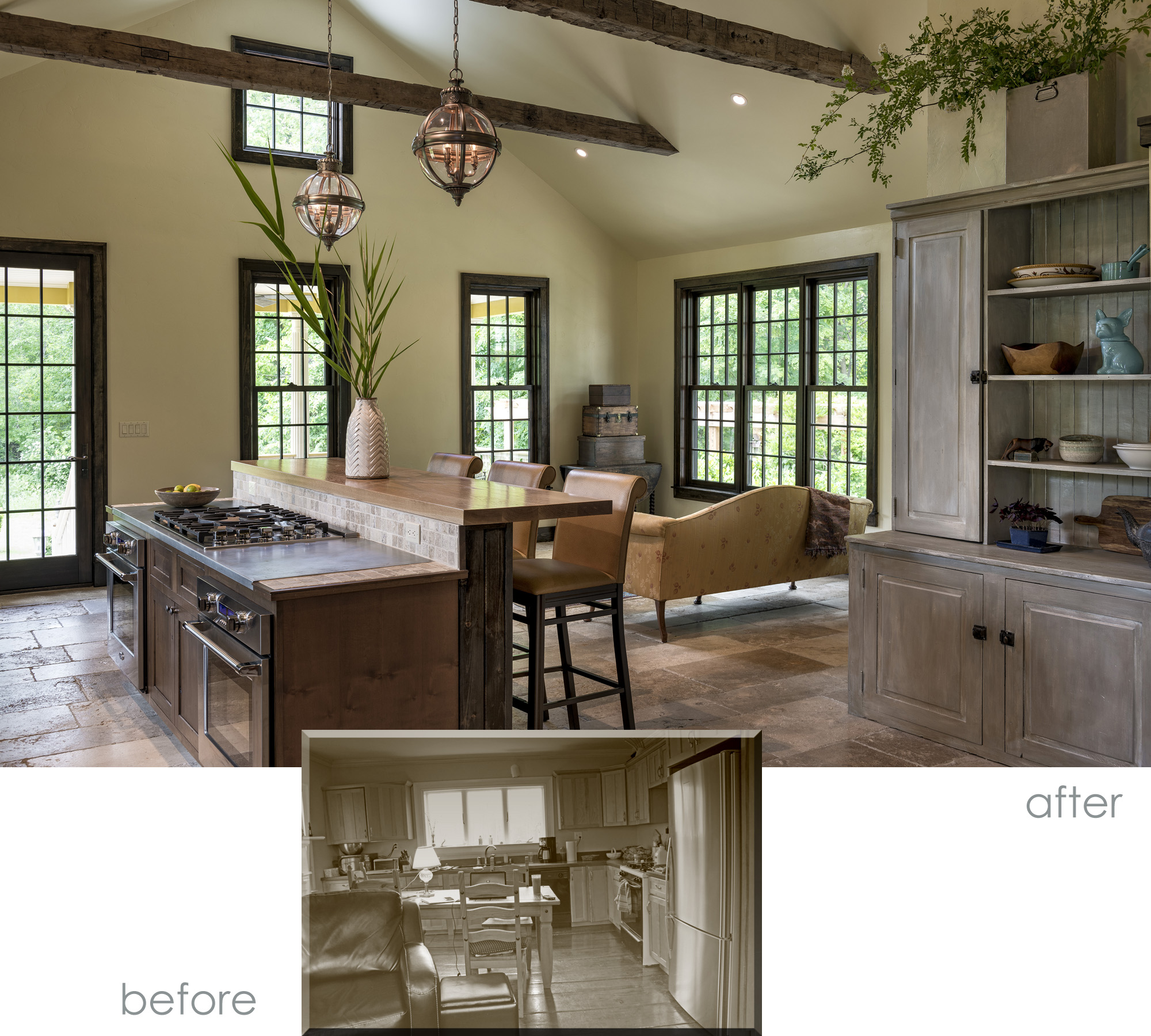 Kitchen/Family Room Before and After
