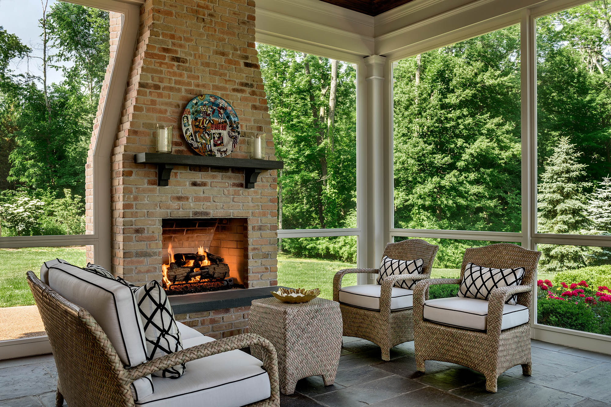 Porch with Brick Fireplace