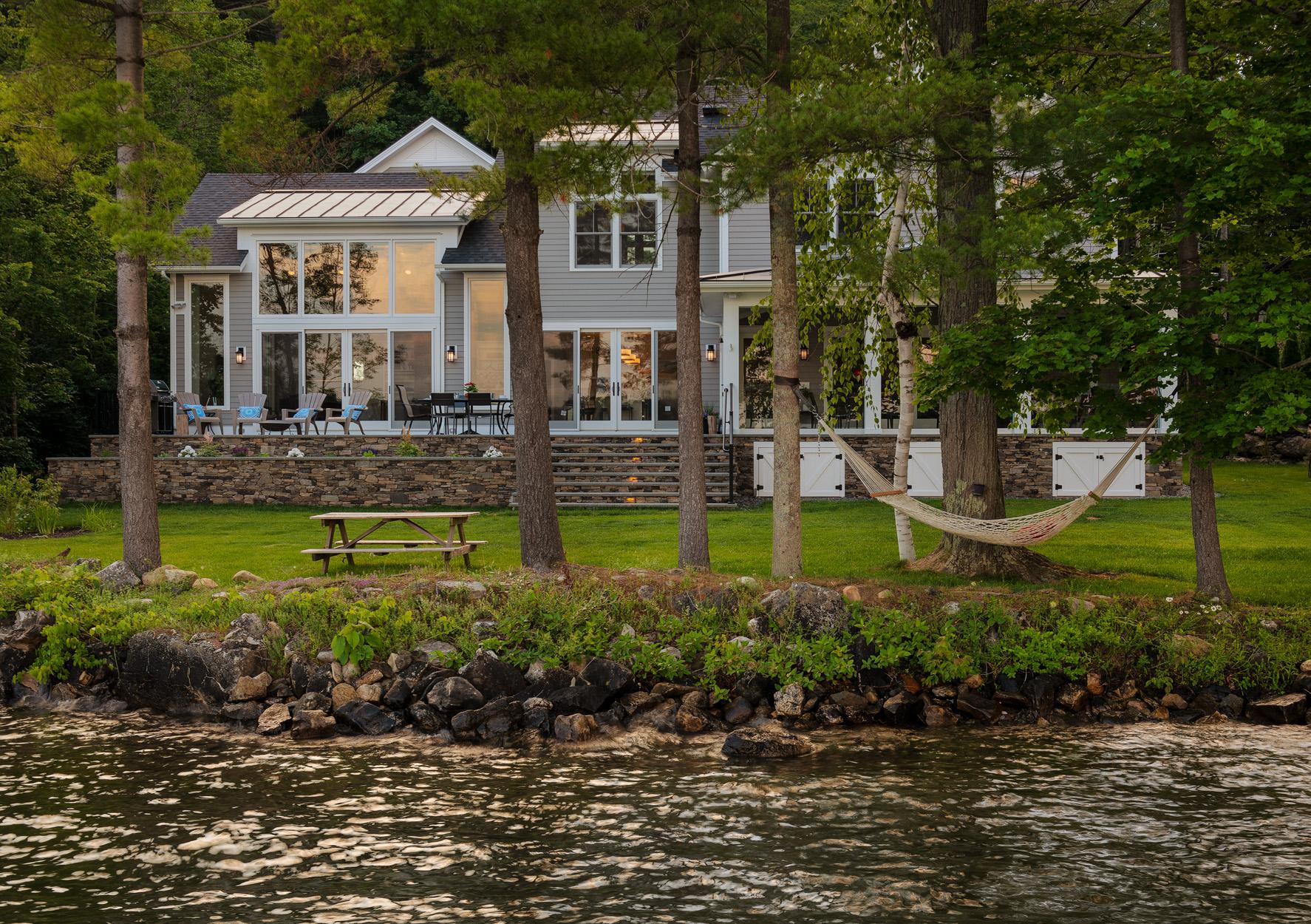 Berkshire Lake Home at Dusk