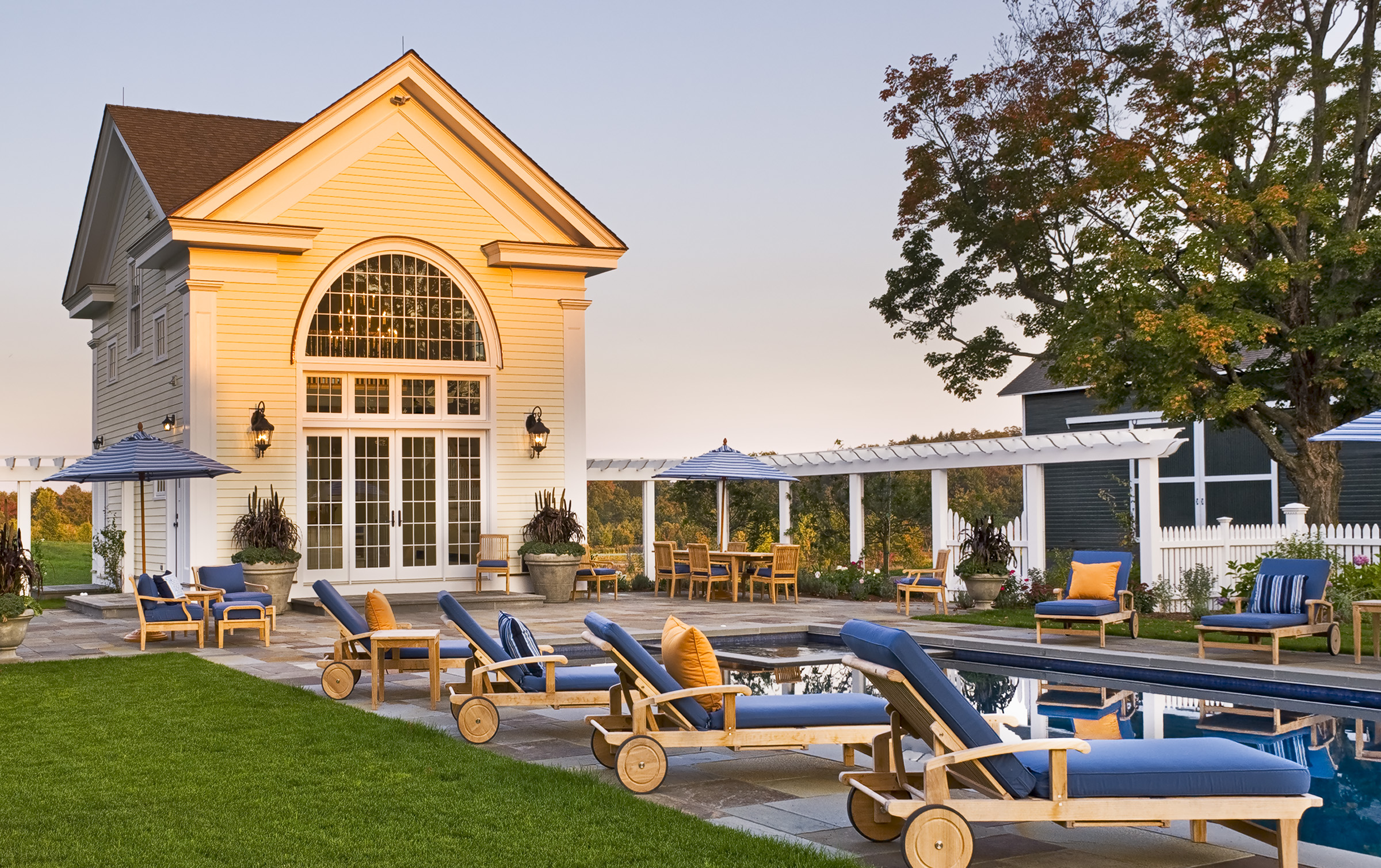 Pool House at Sunset