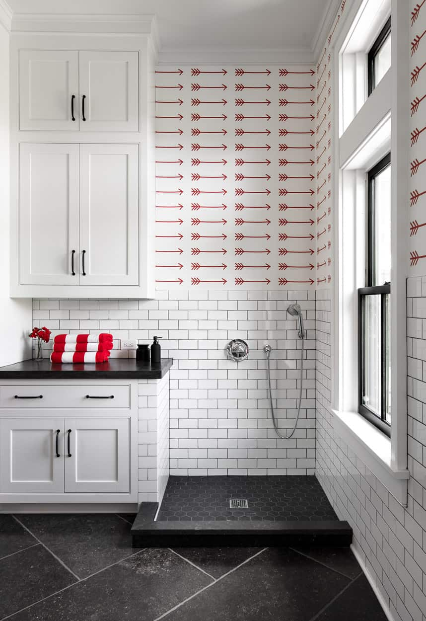 Modern Farmhouse Laundry Room with Dog Shower